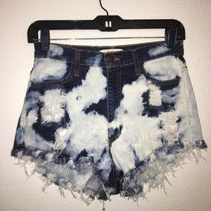 Acid wash High Waist Cut Off Jean Shorts